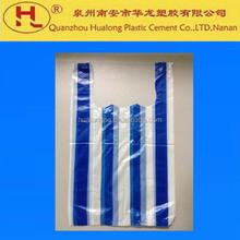 eco-friendly stripe white-blue plastic shopping t-shirt bag