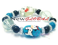 Kid's Painted Farm Animal Cow Donkey Horse Sheep Pig Beaded Hand Painted Stretch Bracelet