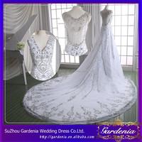 100% Real Photos Custom Made Luxurious V- Neck See Through Back Heavily Crystals Beaded Long Train Saudi Arabian Wedding Dress