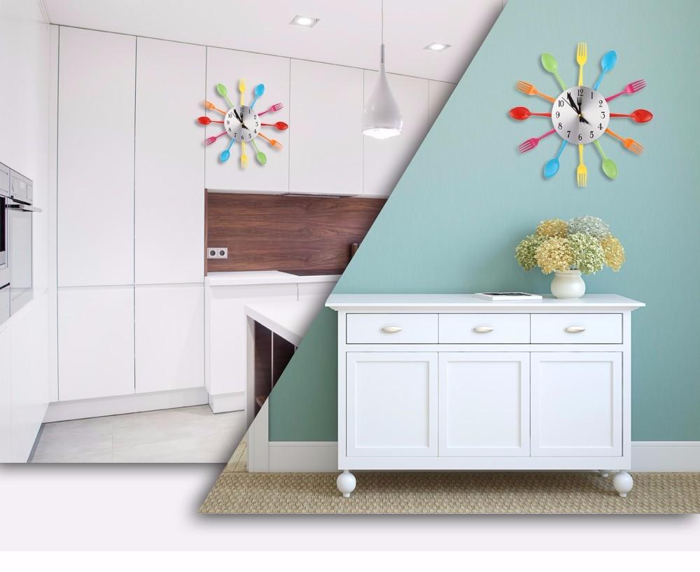 2 farben moderne splitter multi-color besteck küche wanduhr löffel, Hause ideen