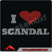 I Love Scandal Hot Fix Rhinestone Motif Custom Design for Hoodies