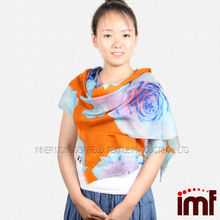 Famous Lady Big Rose Print Cashmere Feel Wool Scarf