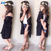 New Kids Girl Wear Fashion Three Pieces Tank Top and Lace Cardigan and Pants Set