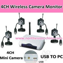 4CH Wireless Mini camera monitor kit, USB Wireless Receiver, 2.4G,Free software