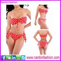 Wholesale factory price triangular red dot women slim sexy bikini