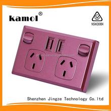 SAA certificated Usb Power Point Australian/New Zealand usb wall socket 2 gang 3 pin outlet AU Power