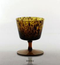 Leopard print wine glass goblet,short stemware,opal solid glassware table set