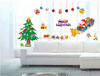 Wholesale christmas ornament decor winter waterproof christmas wall sticker santa claus christmas window sticker