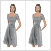 Classic Design Square Neck Short Sleeve Chiffon Silver Mother of the Bride Dress Knee Length with Bow