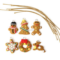 New Stylish Fashion Design 6 pcs Cute Gold Christmas Tree Keychain Hanging Ornament Polymer Clay Decoration