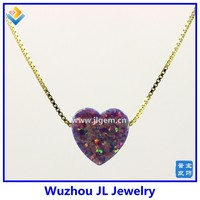 Synthetic Light Purple Heart Opal Stone Pendant18K Golden Plated 925 Sterling Silver Chain Necklace