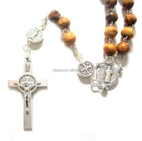 St. Benedict Holy Land Olive Wood Beads Rosary with Jesus Cross Crucifix and Maria Icons