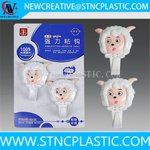Sheep Coat and Hat Shabby Cottage Chic Cast Plastic Water-Resistant Strips Organizer Towel Hooks
