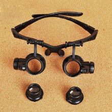 10/15/20/25X LED Eye Jeweler Watch Repair Magnifying Glasses