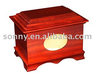 wooden cremation urn and cinerary casket