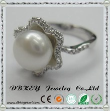 The flower shaped pearl ring8.5-9 mm mirco pave 925 Silver Ring