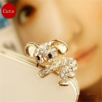 Cute Crystal Metal Koala Anti Dust Plug Stopper / Ear Cap / Cell Phone Charms for Smartphone with 3.5mm Earphone Jack (Gold)