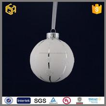 Popular design white hanging glass balls ,glass ball christmas tree decor