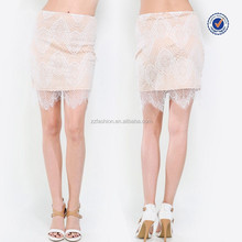 2015 new design floral crochet lace overlay and scallop hem custom mini skirts