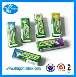 Wholesale customized mini metal rectangular chewing gum/ mint candy packaging tin containers boxes