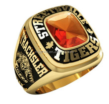 Youth baseball trophy award rings with gold plating and Ruby stone, nice design!
