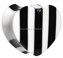 Black White Stripes Organic Bone and Horn Heart Saddle Ear Plugs