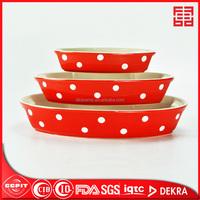 hot sale eco-friendly set of 3 ceramic oval bakeware colour glazed microware safe deep plate