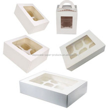 NEW Clear Window Cupcake Boxes White For 1/ 2/ 4/ 6/ 12 Cakes With Removable Insert Pink