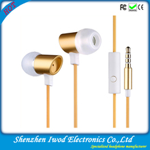 Cheap mobile phone accessory new arrival golden earphones for lg phone