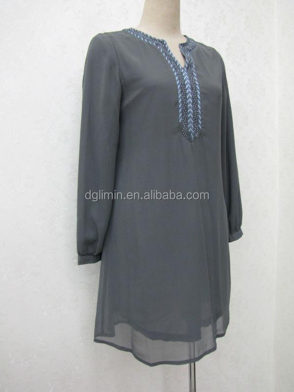 Indienne muslimah perlée à manches longues tunique tops