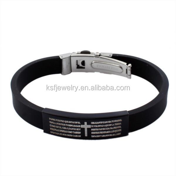 stainless steel cheap custom silicon bracelet rubber