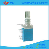 YH jiangsu 9mm 4 gang metal shaft sealed b500k rotary potentiometer without switch