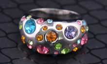Custom jewelry fashion ethnic style ring with paved colorful dimond