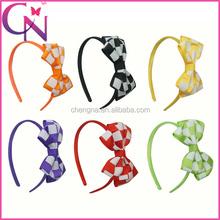 "4.5""High Quality Classic Plaid Double Layer Grosgrain Hair Bows Hair Band For Baby Girls (CNHB-1310094)"