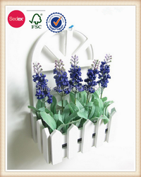 Flower arrange wall hanging wooden craft decorative fense