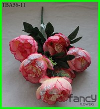7 heads bush making artificial big peony flower in hot pink