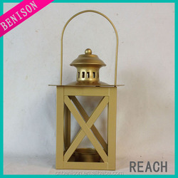 gold home decorative metal candle holder lantern