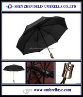 Black 8K Steel Frame FRP Ribs 3 Fold Umbrella 190T Pongee Auto Open&Close