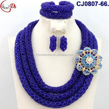 CJ0807-66royal/navy blue hot saling high quality three circle/loop African fashion weave bead with brooch decoration jewelry set