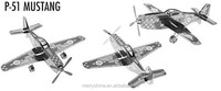 Merryshine DI02-11 Educational Toys P-51 Mustang 3D Metal Puzzle Magnetic 3d jigsaw puzzles for adults and Children