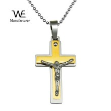 Shiny Jewelry 316L Stainless Steel Two-Tone Mini Cross Pendant Baby