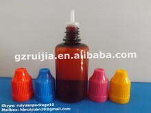Amber PET bottle Brown PET bottle with Childproof cap&Thin tip 30ml plastic bottle