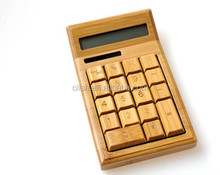 Ecofriendly Nature Bamboo Wood Solar Powered 12 Digits Calculator