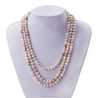 6-7mm A+ grade mixed color potato freshwater pearl triple strand pearl necklace
