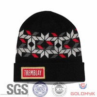 Jacquard winter knitted hat with patch embroidery