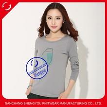 100 cotton women tshirt, printed tshirt, long sleeve tshirt