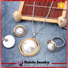 30pcs MOQ white pearl african beads jewelry set 2015