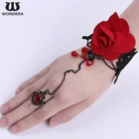 Personalized Vintage Women DIY Fashion Rose Lace Bracelet with Ring