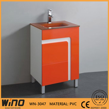 cheap free standing 600mm PVC bathroom conner vanity cabinets glass top bathroom sets