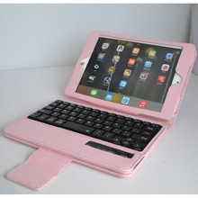 wireless bluetooth keyboard leather case with stylus holder for ipad mini